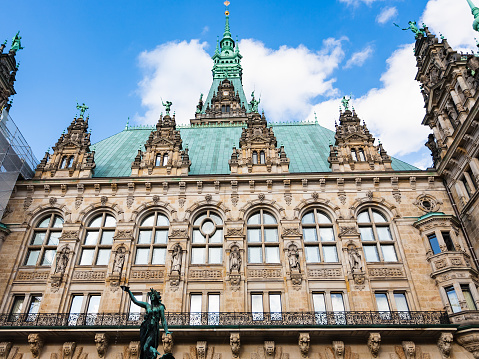 Rathaus (Town Hall) from courtyard in Hamburg