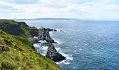 Picture shows an Landscape view on some cliffs in the ocean.