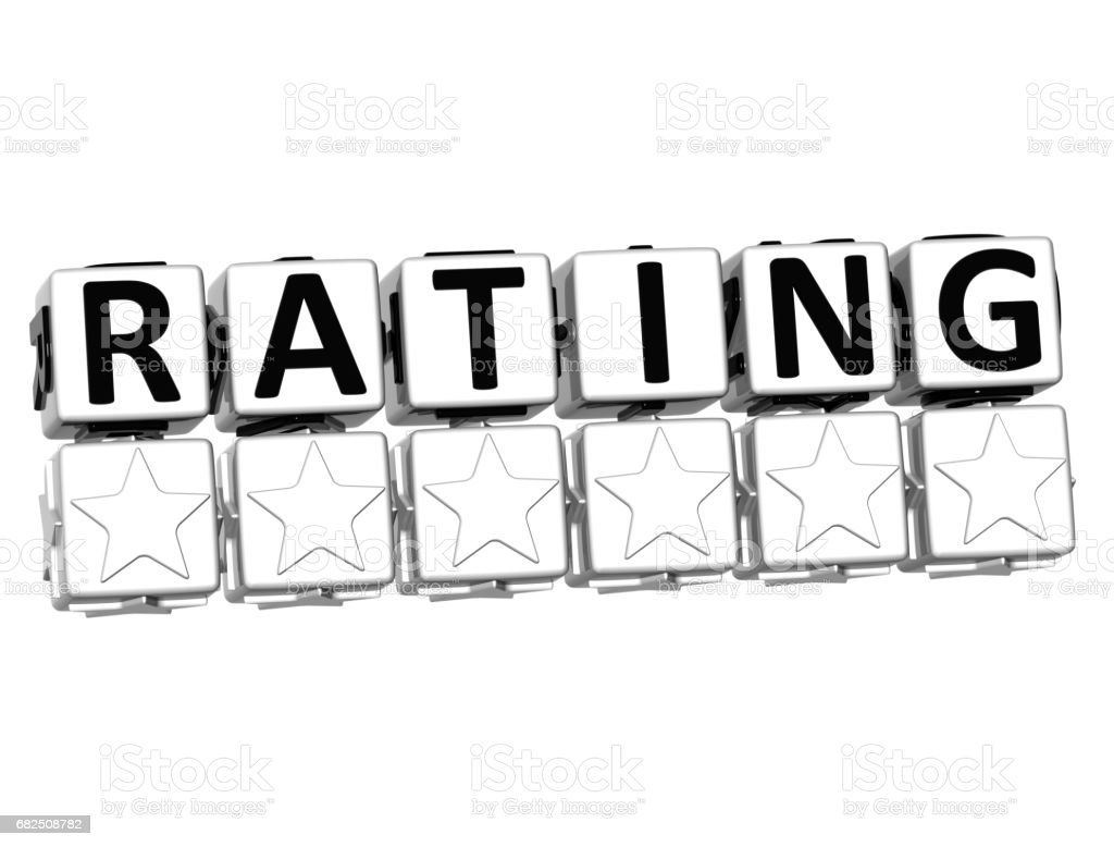 3D Rating Button Click Here Block Text royalty-free stock photo