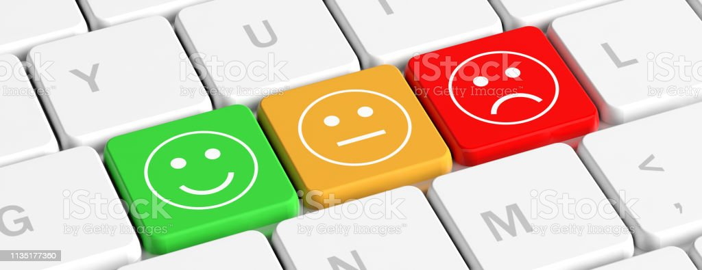 Rating Feedback Key Buttons With Emoticons On A Computer Keyboard Banner 3d Illustration Stock Photo Download Image Now Istock