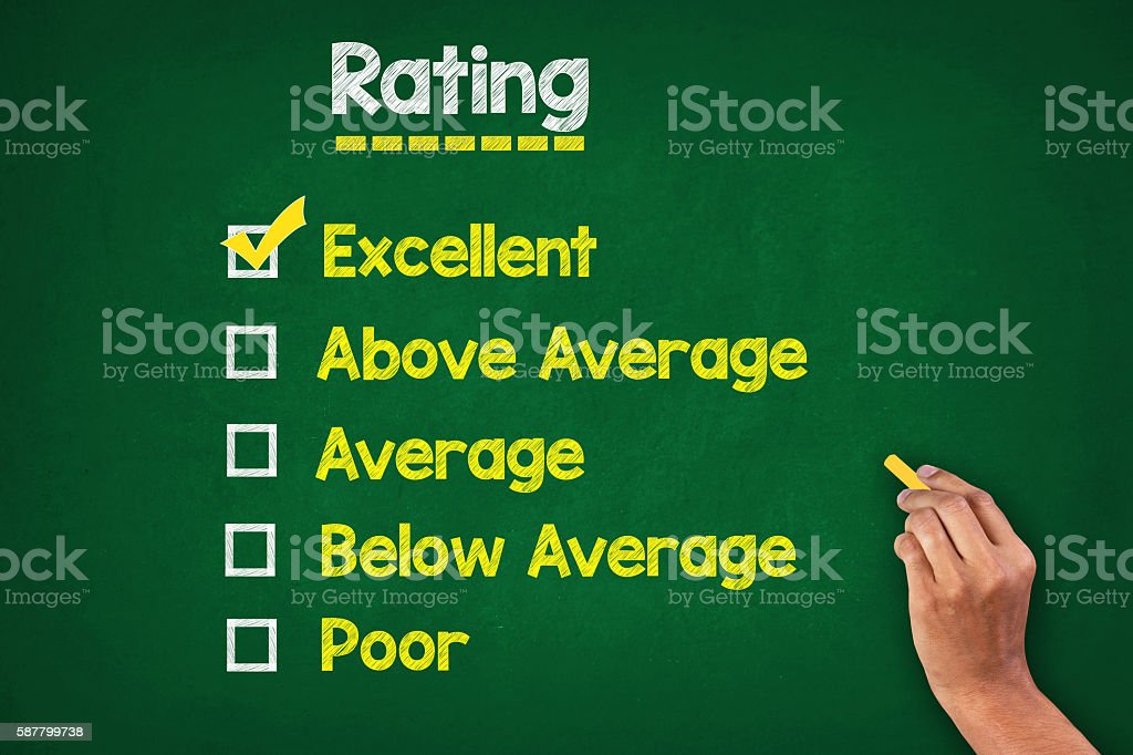 Rating On Greenboard stock photo