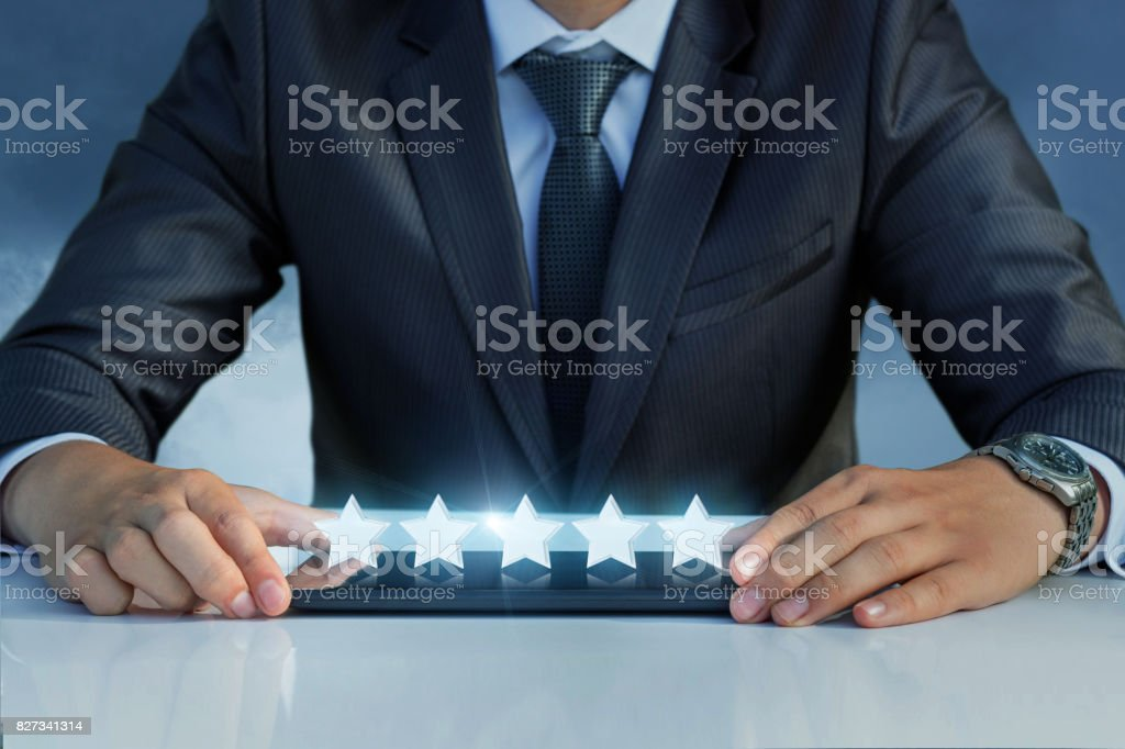 Rating on the mobile computer. stock photo