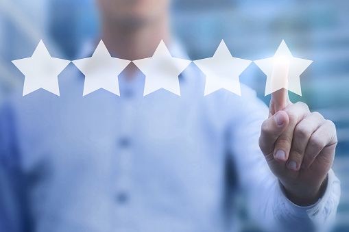 istock rating online concept, 5 stars review, positive feedback 879588158