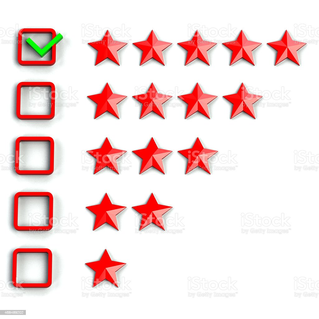 Rating star system checkbox with the highest checked stock photo