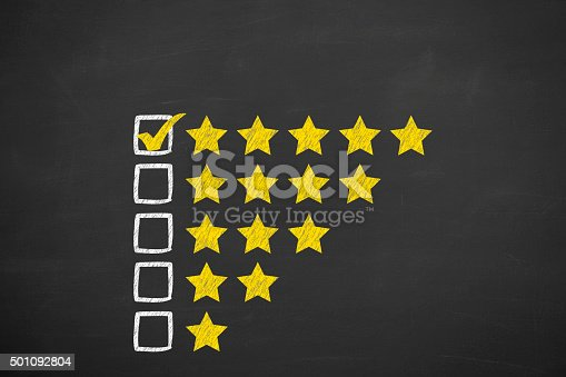 istock Rating Stars Concept on Blackboard 501092804