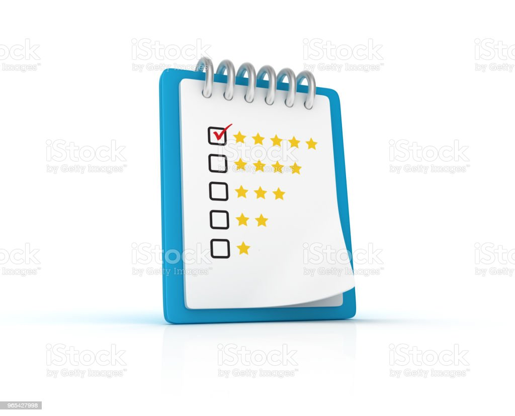 Rating Survey Clipboard - 3D Rendering royalty-free stock photo