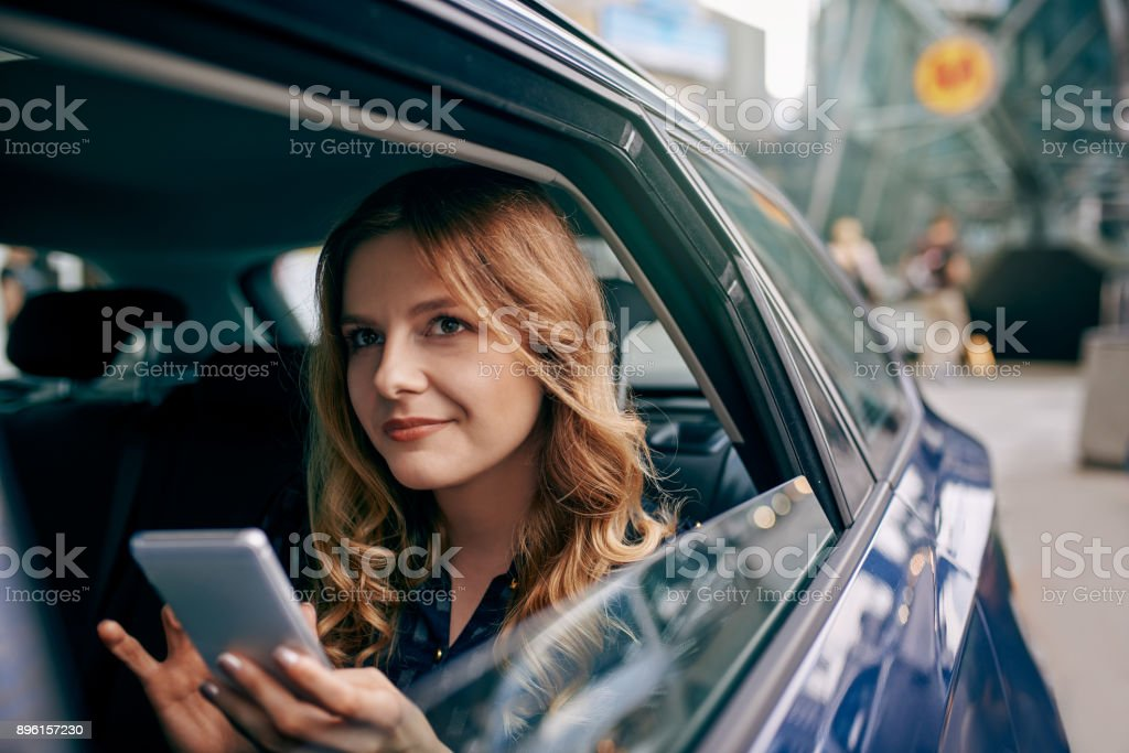 Rating the cab ride stock photo