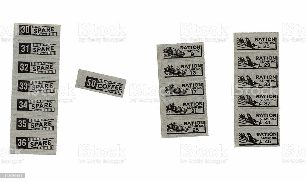 WW2 Ration Stamps stock photo