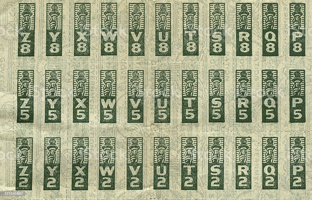 WWII Ration Stamps stock photo
