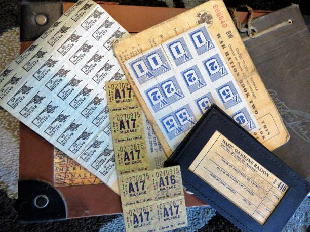 WWII US ration stamps WWII US ration stamps war effort stock pictures, royalty-free photos & images