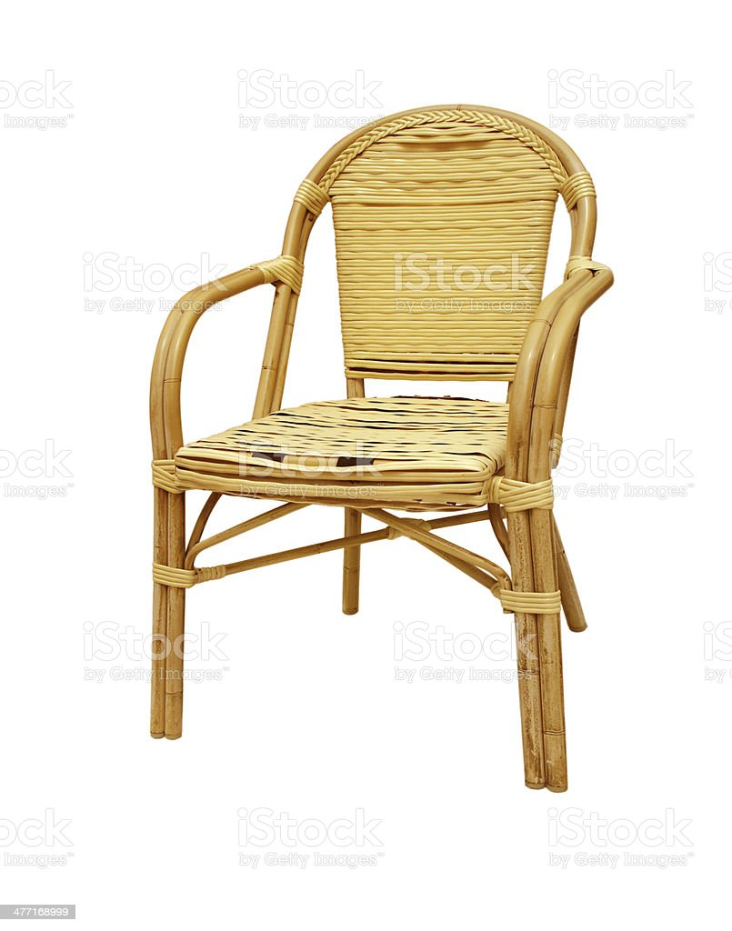 Rattan chair isolated on white background stock photo