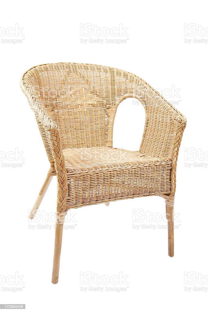 Rattan chair on white background. royalty-free stock photo