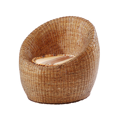 Rattan chair isolated on white background with clipping path.