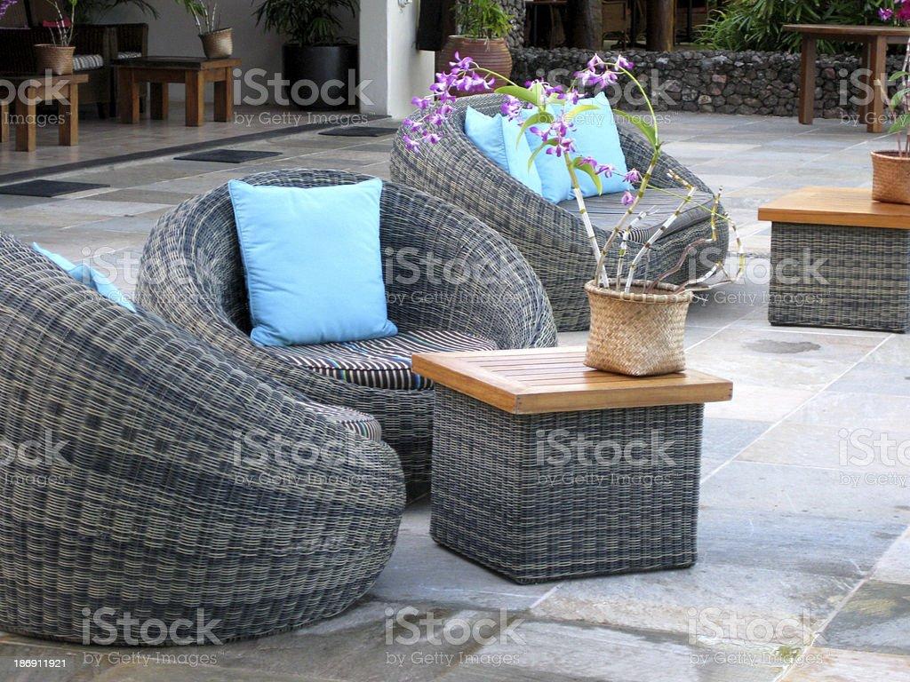 rattan furniture stock photo