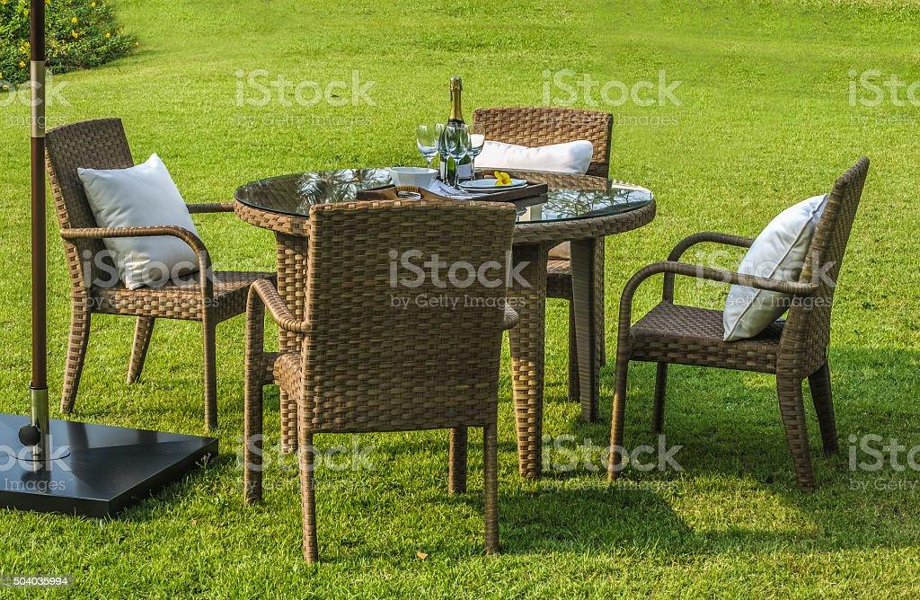 rattan garden furniture set stock photo