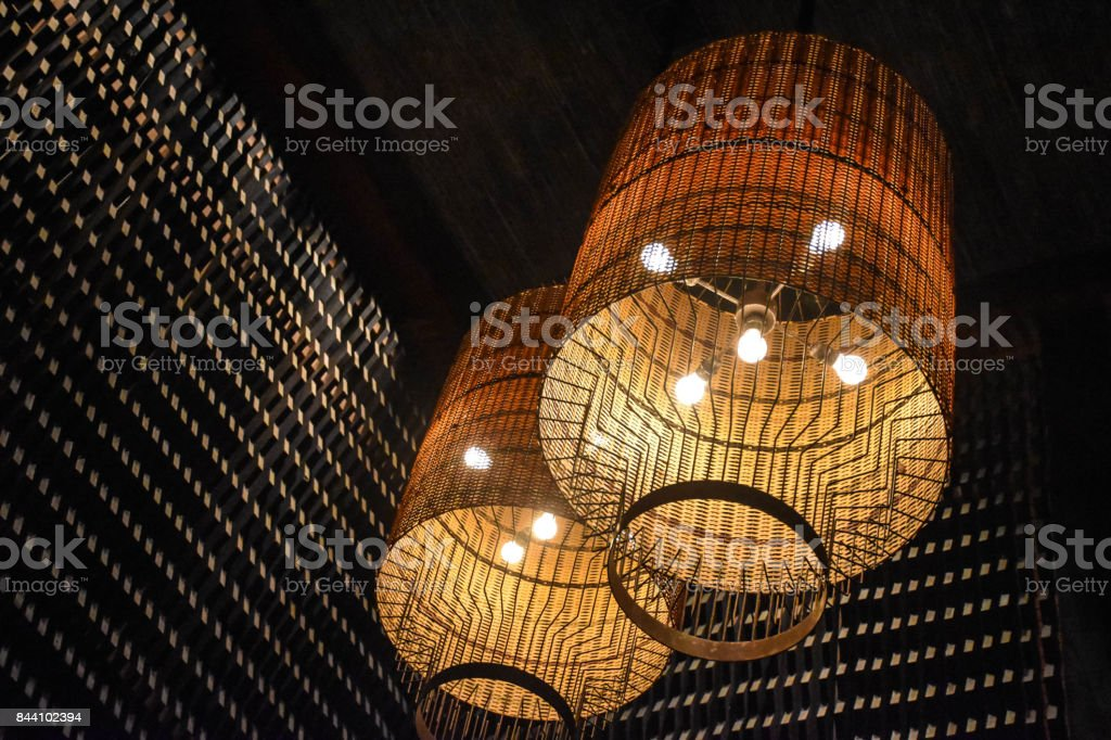 Rattan Lamp On The Ceiling Stock Photo Download Image Now Istock