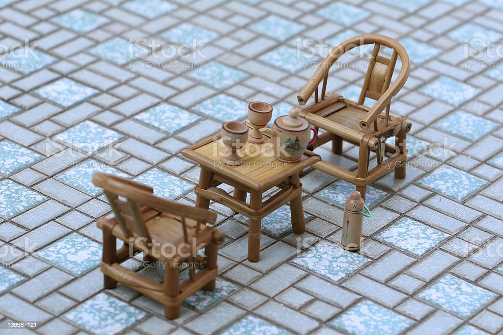 Rattan Table and Chairs royalty-free stock photo