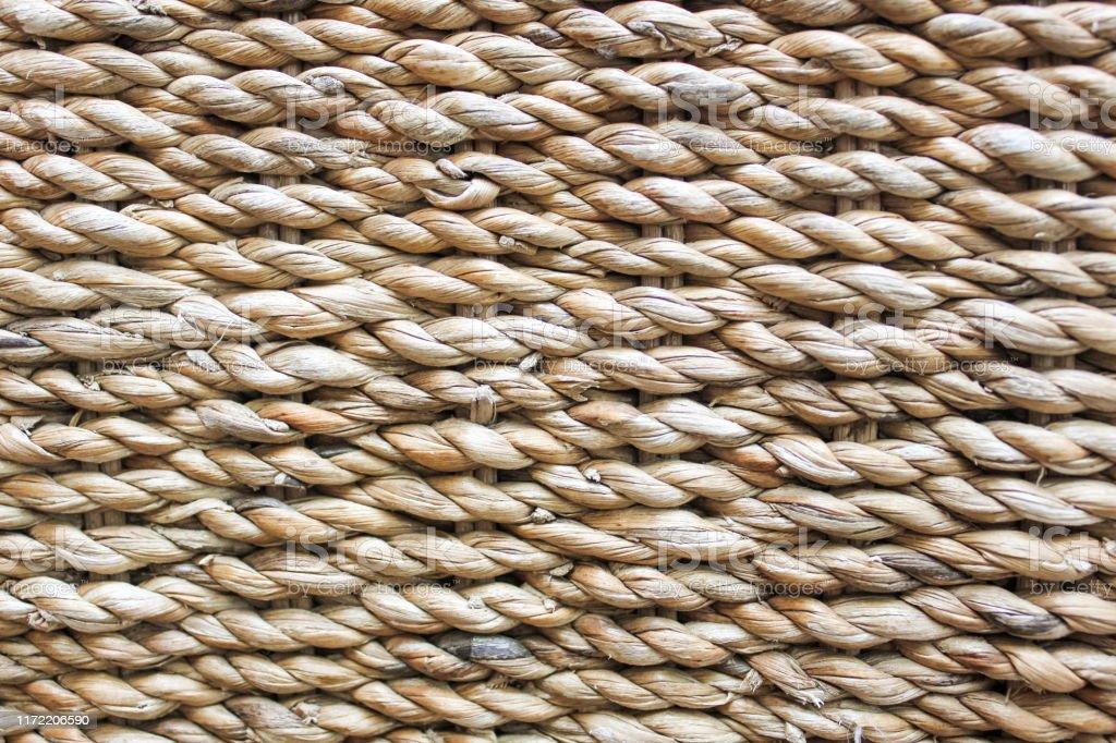 Textured basket made of natural fiber as a background.