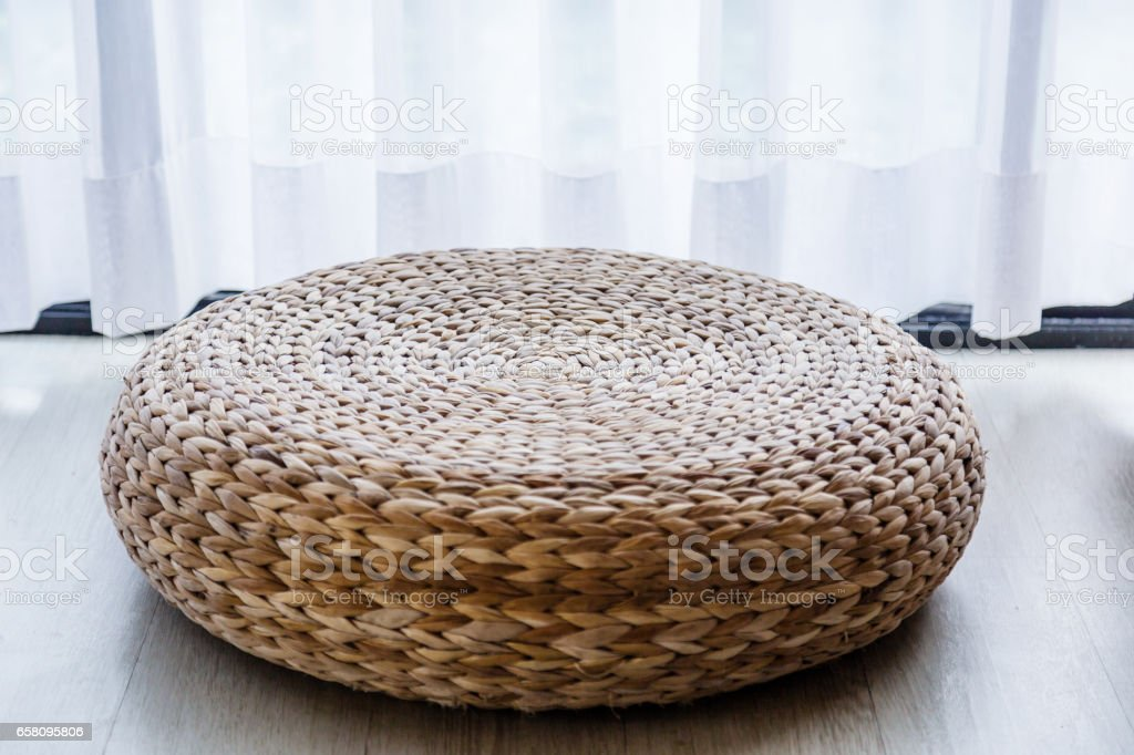 rattan weave stool asian tradition style stock photo