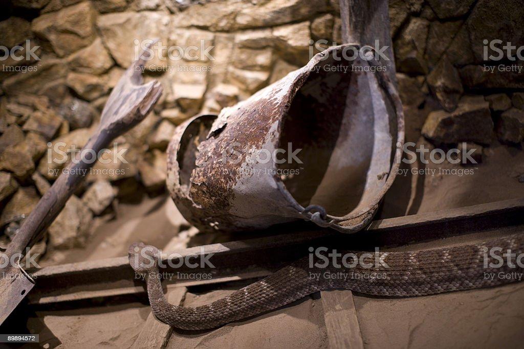 Rattlesnake in abandoned goldmine royalty-free stock photo