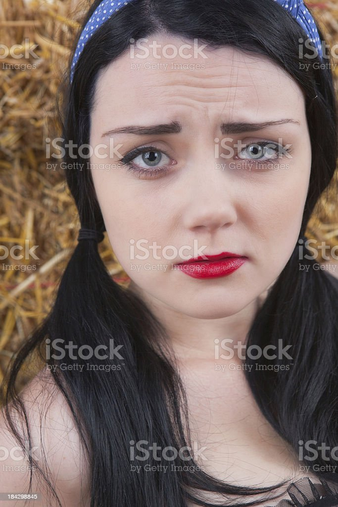 Raven Haired Girl Looking Worried Royalty Free Stock Photo