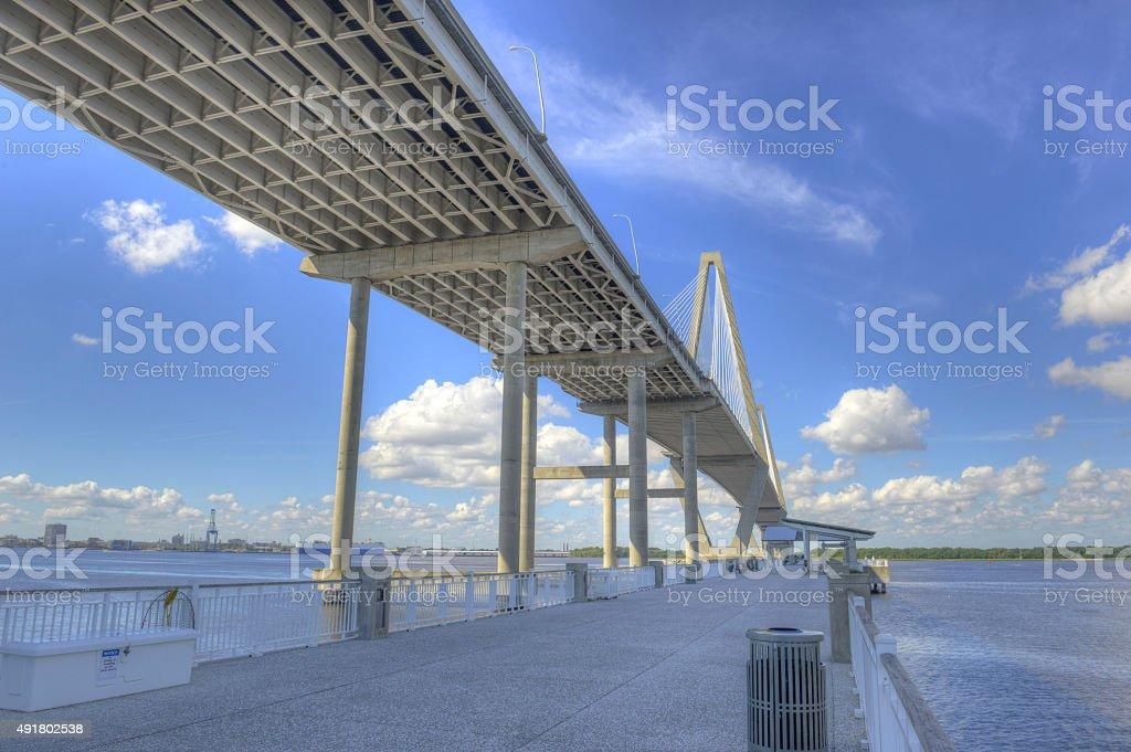 Ravenel Bridge 1 Bridge over Atlantic Ocean in Charleston, SC. 2015 Stock Photo