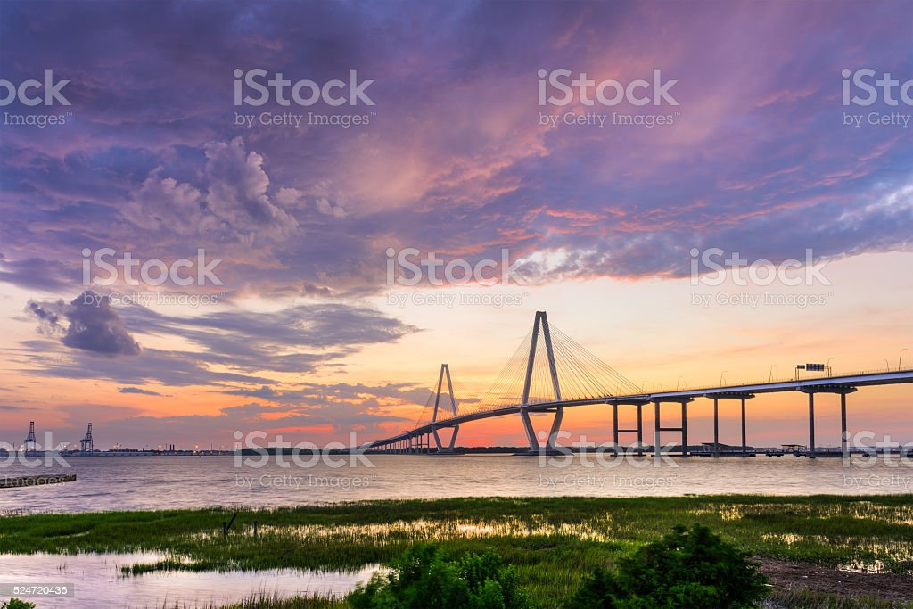 Ravenel Bridge in Charleston stock photo
