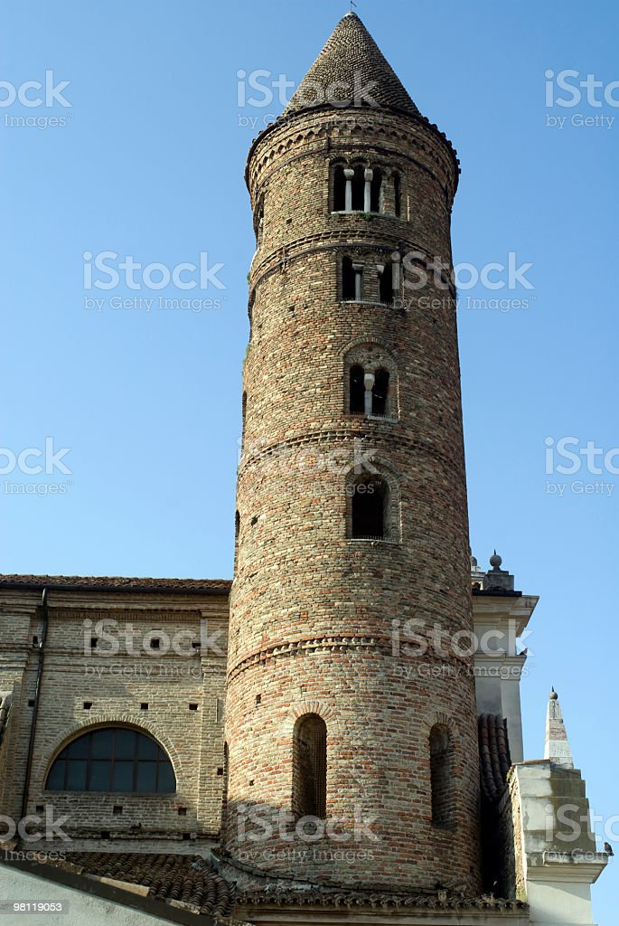Ravenna (Italy) - Cylindrical belfry of an ancient church royalty-free stock photo