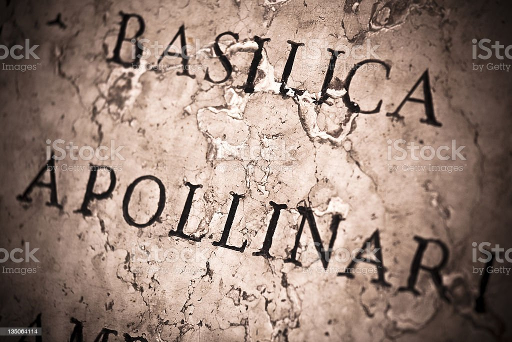 Ravenna, Inscription, Basilica di San'Apollinare in Classe royalty-free stock photo