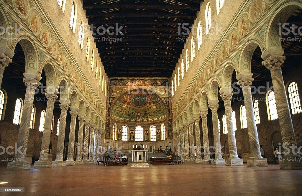 Ravenna, Interior of Sant'Apollinare in Classe stock photo