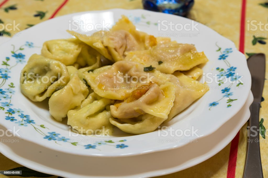 Ravioli filled with pumpkin and sage zbiór zdjęć royalty-free