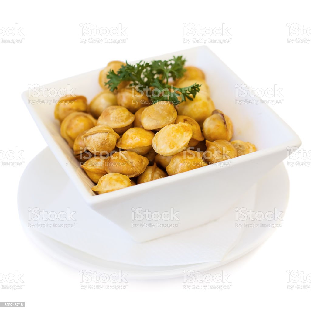 Ravioli on white plate stock photo