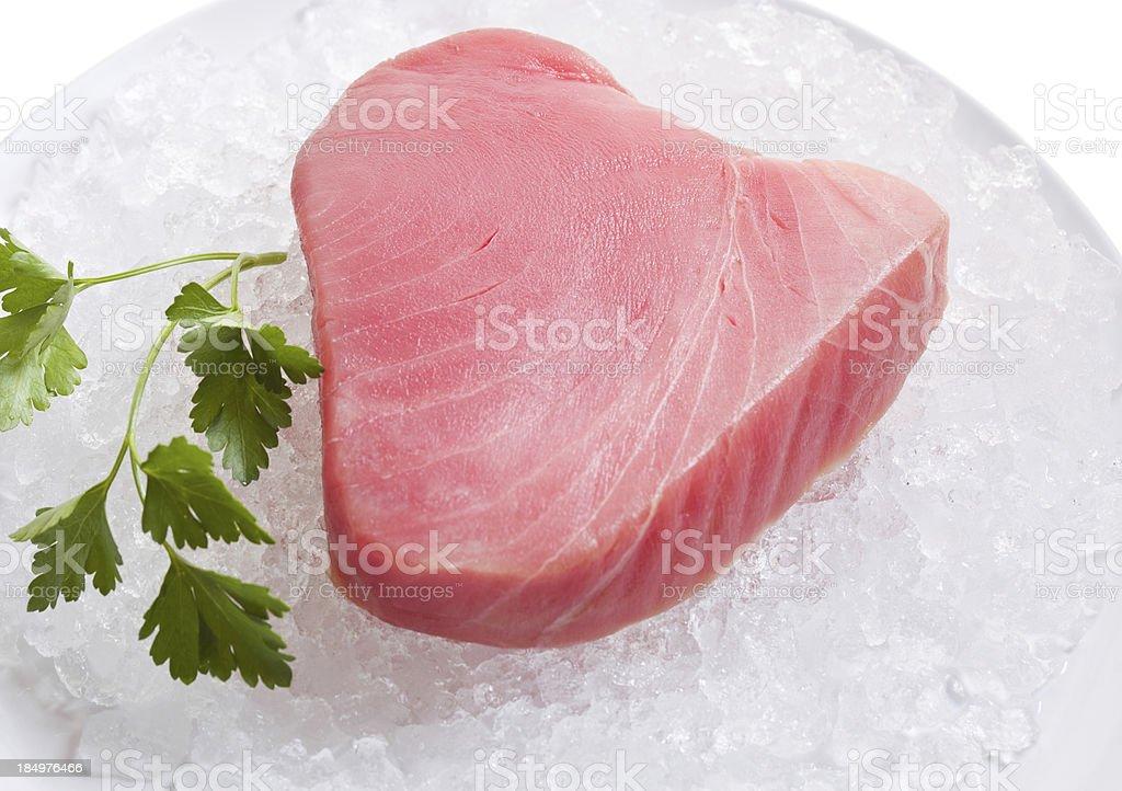 Raw Ahi Tuna Steak On Ice royalty-free stock photo