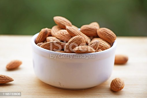 Raw Almonds displayed with a background