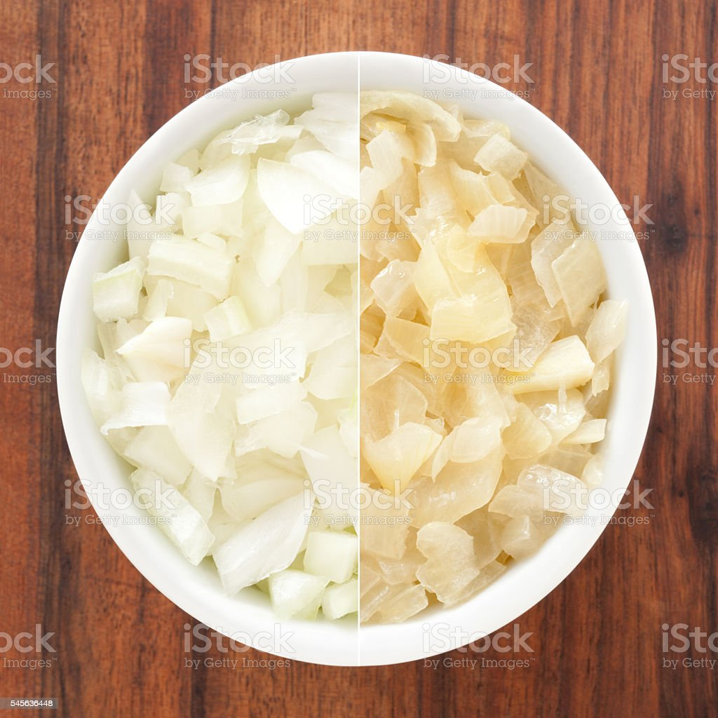 Raw and fried onions composition stock photo