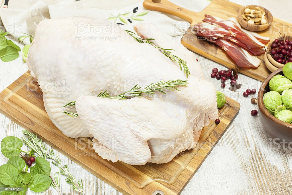 Raw and juicy turkey  ready to go into the oven royalty-free stock photo