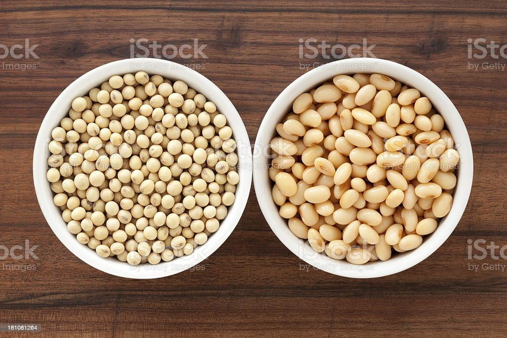 Raw and soaked soybeans royalty-free stock photo