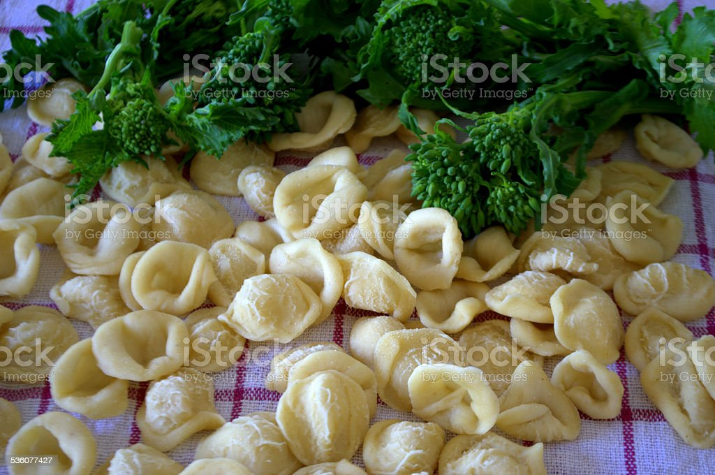 Orecchiette pugliesi crude stock photo