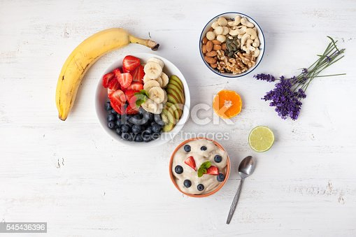 istock Raw banana ice cream dessert, top view 545436396