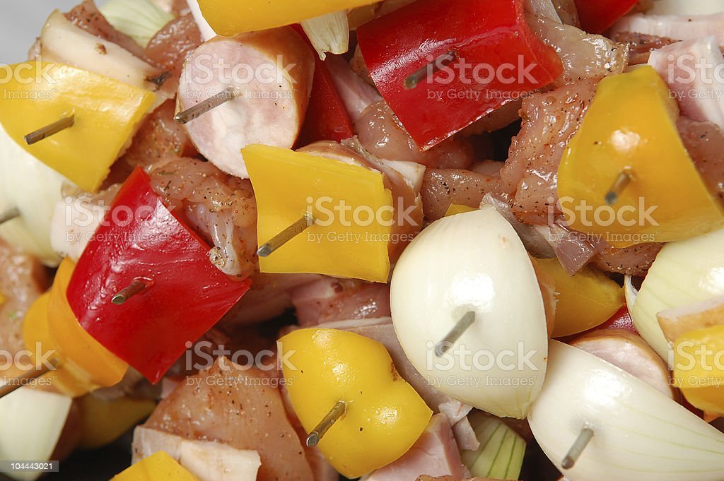 Raw barbecue spit ready for cooking stock photo