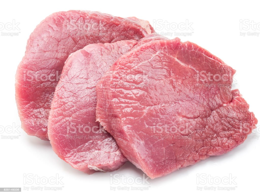 Raw beaf steaks on a white background. stock photo