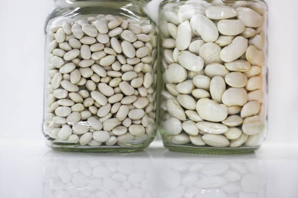 raw beans in glass vases stock photo