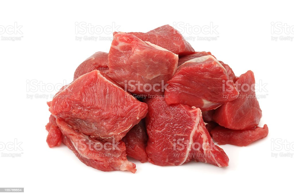 Raw Beef Cubes stock photo