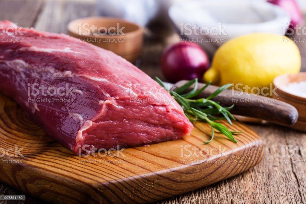 Raw beef filet tenderloin stock photo