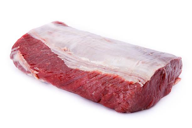 Rohe Rindfleisch Fleisch, isoliert auf weißem Hintergrund – Foto