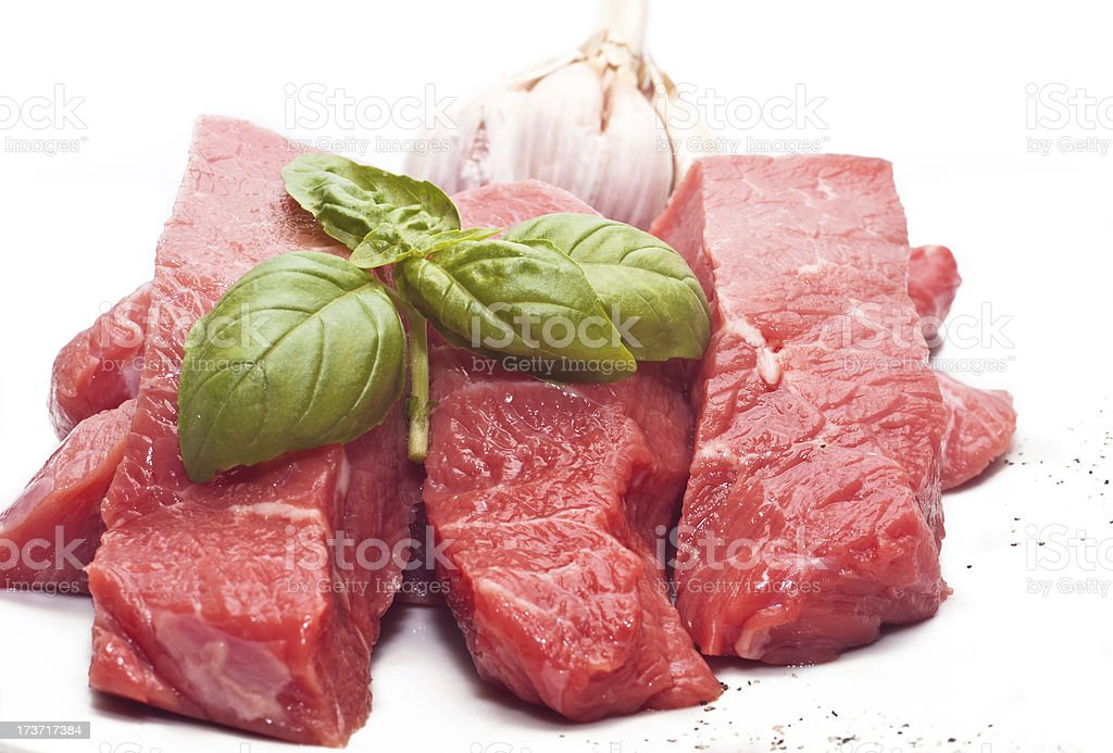 Raw beef on white royalty-free stock photo