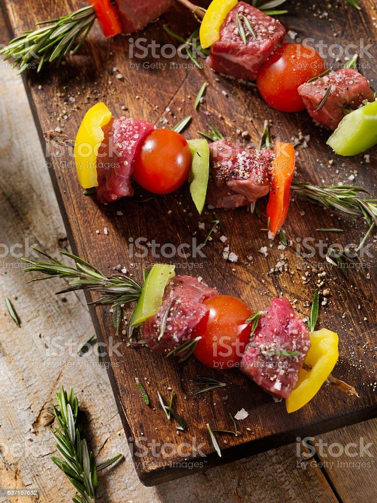 Raw - Beef, Rosemary Vegetable Skewers stock photo