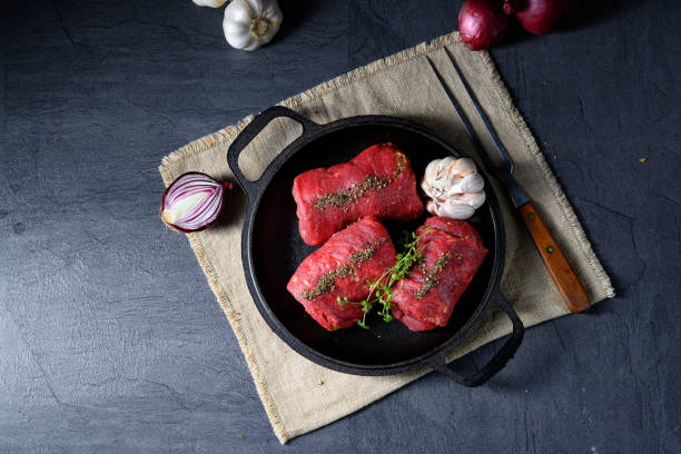 raw beef roulades prepared for cooking – zdjęcie