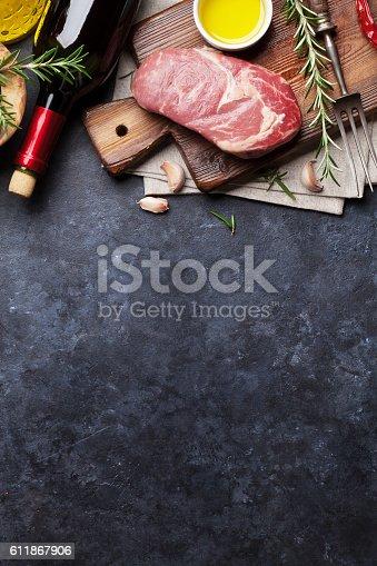 istock Raw beef steak cooking 611867906