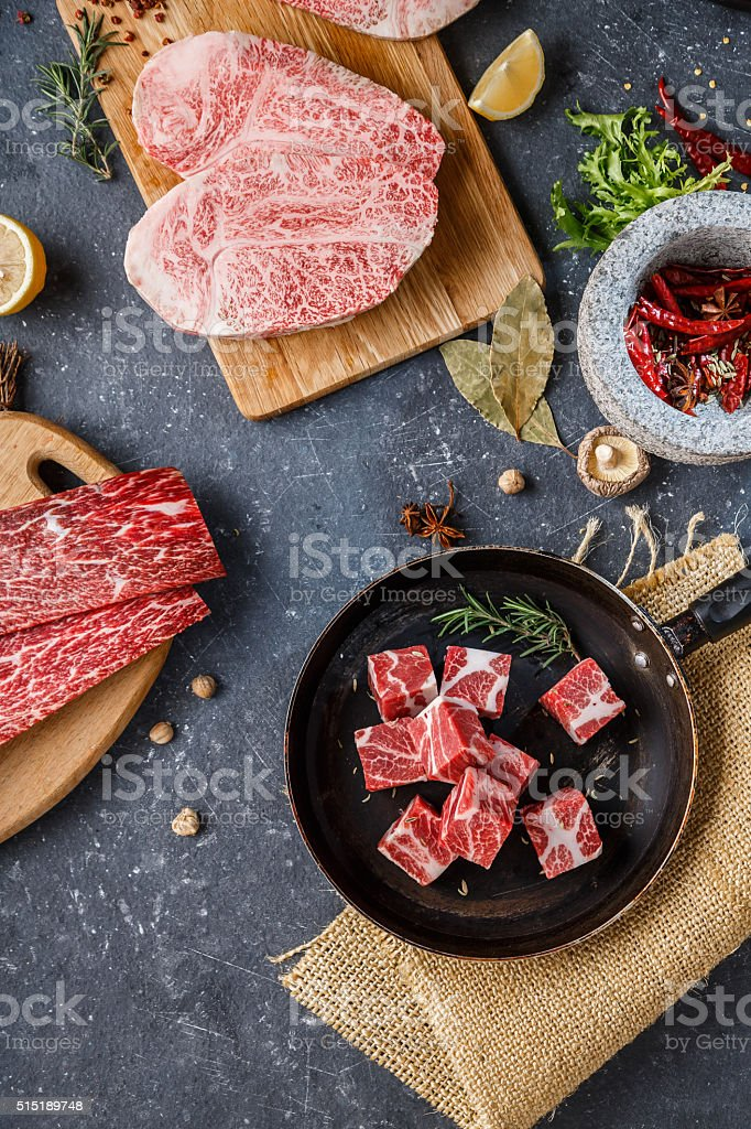 Raw beef steak on dark background stock photo